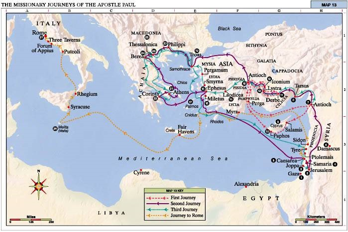 карта маршрутов св. Павла